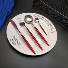 Hot Sale 4pcs Red Silver Western Cutlery Dinnerware Kitchen 304 Stainless steel Knife Fork Spoon Food Tableware Flatware Set цена и фото