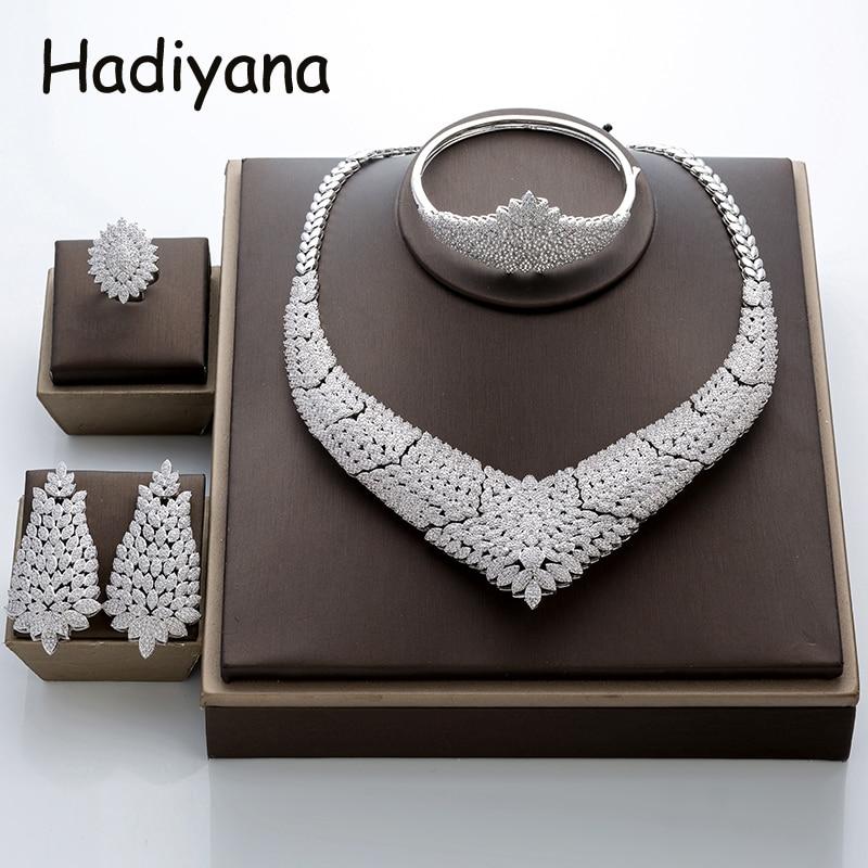 Hadiyana Gorgeous Micro Inlay Full Small CZ Flower Jewelry Set Round Cubic Zirconia Women Wedding Jewelry