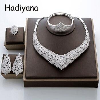 60abd5b631a1 Hadiyana precioso Micro incrustación completa pequeña CZ conjunto de joyería  de La Flor redondo Cubic Zirconia mujeres boda juegos de joyería para novias  ...