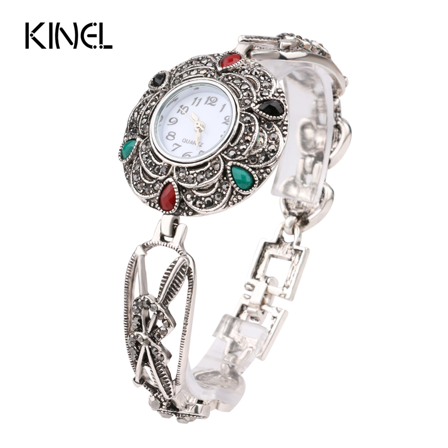 Luxury Gray Crystal Bracelets Silver Plated Colorful Resin Love Heart Decorative Watch For Women Retro Look Turkey Jewelry