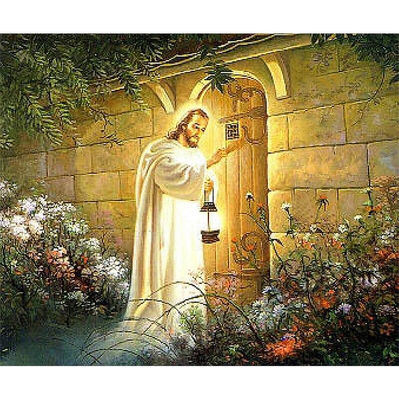 Diamond Embroidery 5D Guide light Jesus knocking Door image diy Diamond Painting Christian Series cross stitch Mosaic decor ZH