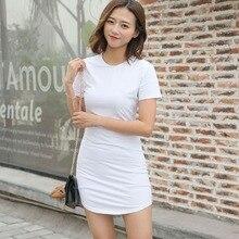 Women Dress 2019 Sexy Short Sleeve Slim Bodycon Dress Korean Tunic Crew Neck Casual Solid Mini Dress Party Vestidos New Arrival цена
