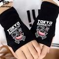 New llegada estudiantes regalo anime de tokio ghoul famosos hombres mujeres caliente de punto guantes sin dedos medio dedo negro niña mitones