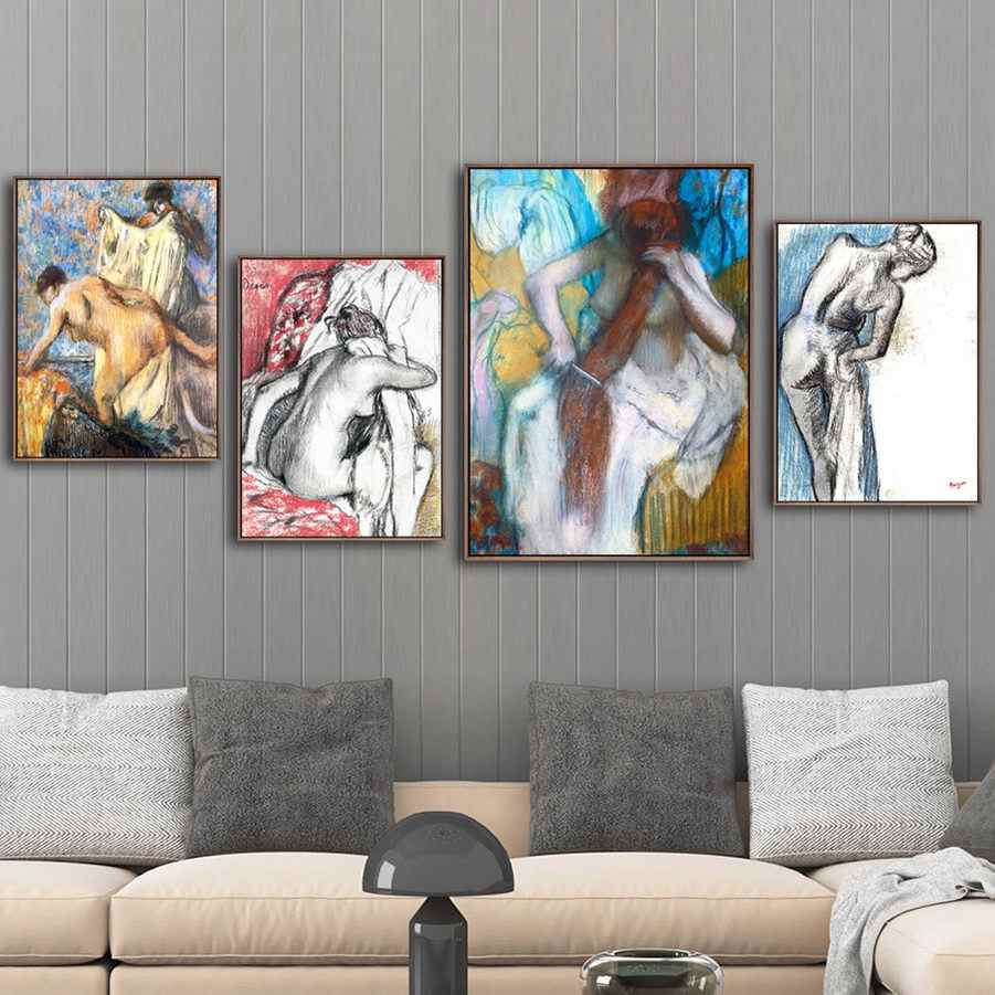 Home Decoration Print Canvas Art Wall Pictures for Living Room Poster Paitings French Edgar Degas Bathing 2