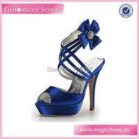 Drop Shipping Gorąca Sprzedaży lady Sexy Wysokie Obcasy Królewskie Niebieskie Buty Kobieta Platformy Ślubne Satynowe