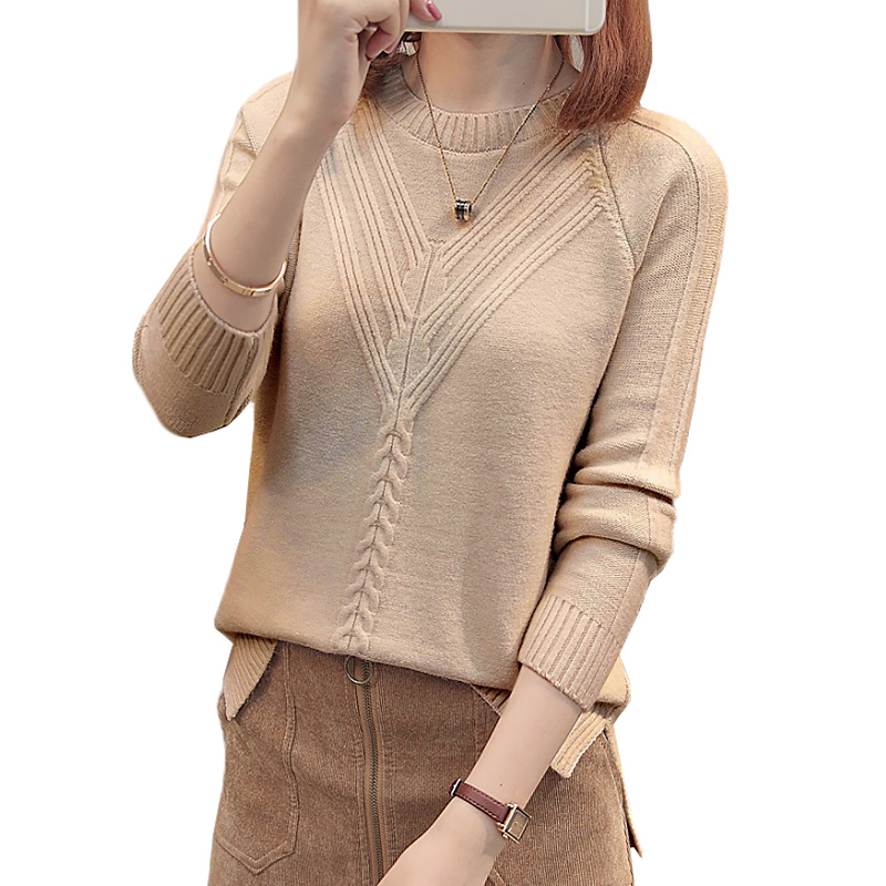 Women Sweaters And Pullovers 2018 Spring Autumn O-neck Solid Knit Jumper Sweaters Loose Casual Female Tops Women Clothing Z24