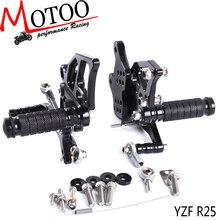 Motoo   Full CNCอลูมิเนียมรถจักรยานยนต์Rearsetด้านหลังสำหรับYAMAHA YZF R3 YZF R25 R 3 R 25 2014 2018