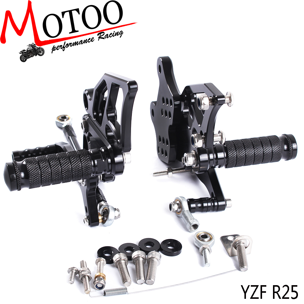Motoo - Full CNC aluminum Motorcycle Rearset Rear Set For YAMAHA YZF-R3 R25 2015-2016 for yamaha yzf r3 r25 mt 03 2014 2015 2016 motorcycle rearset rear set replacement base mounting bracket plate cnc machined