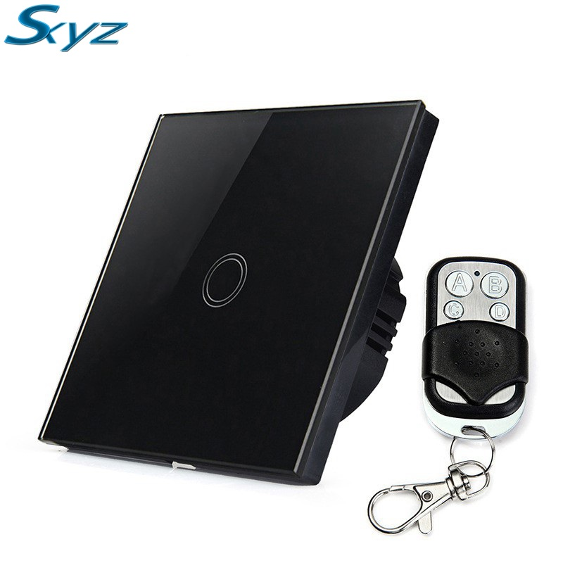 1 Gang EU UK Standard Touch Switch Crystal Glass Switch Panel Single FireWire Touch Screen Switch