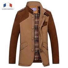 Langmeng 2015 зима верхняя одежда Пальто Куртки вскользь костюмы моды для мужчин пиджаки марка качество человек формальный пиджак сплошной цвет