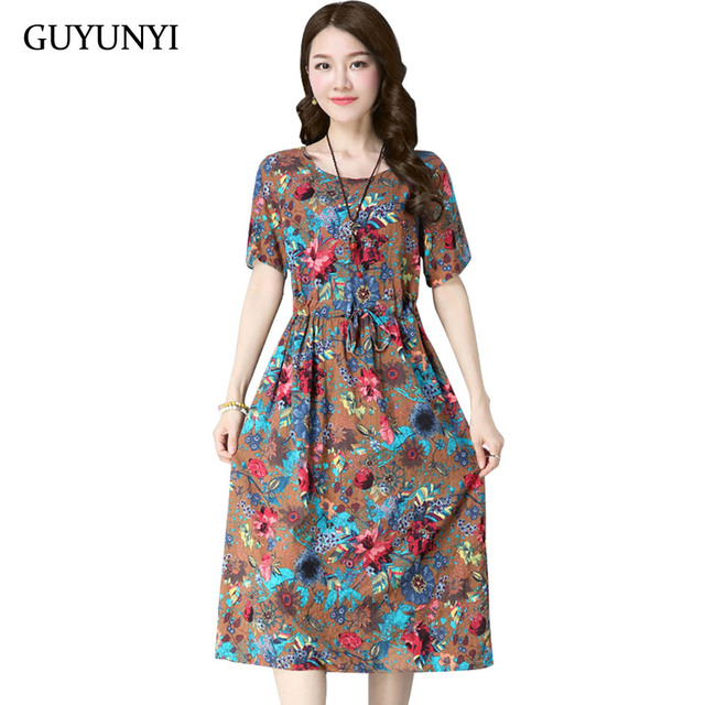 604336e70f84 GUYUNYI Chinese Style Cotton and Linen Vintage Print Women Casual Loose Summer  Dress vestidos femininos Party Dresses CX952