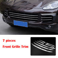 7PCS Car Stainless Steel Front Grill Grille Trim Sticker Cover fit for Porsche Cayenne 2015 2016 2017
