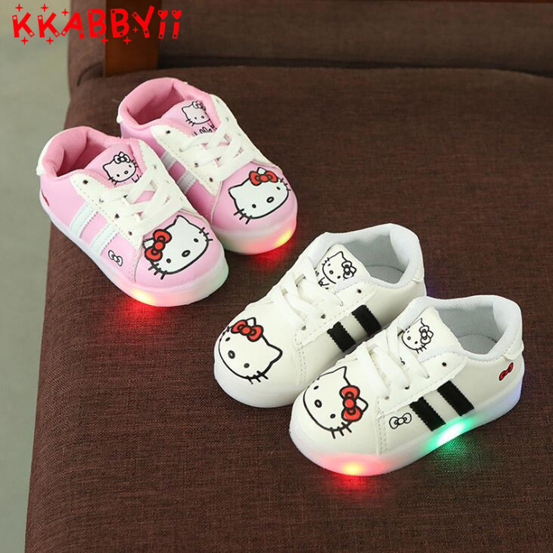 Spring Autumn Lace up LED Lighted Child Sneakers Cute Tennis Breathable Baby Girls Boys Shoes Lovely Kids Toddlers