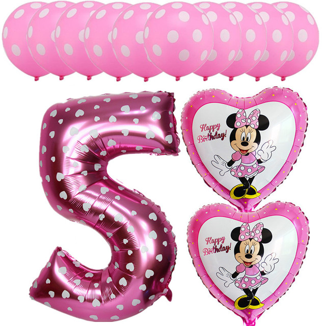 13pcs Mickey Happy Birthday Number 0 9 Helium Foil Balloons Boy Girl Latex Balloon Baby Shower Party Wedding Decoration Supplies