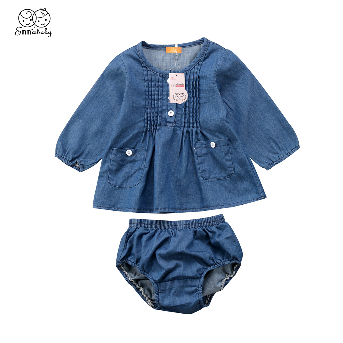2018 new fashion babies clothing Newborn Baby Girls Denim Long Sleeve ruffles Top Blouse Shorts Outfits Clothes set 2 styles