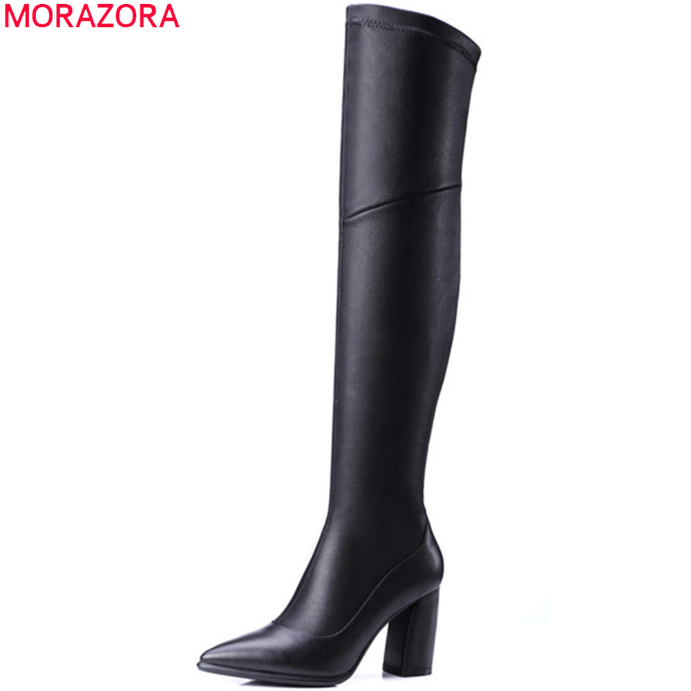 MORAZORA 2018 fashion new arrive women boots genuine leather +pu ladies boots pointed toe zipper square heel over the knee boots