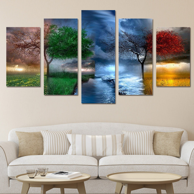 5 Panels Canvas Prints Fantasy Nature 4 Seasons Painting Wall Art Home Decor 5 Piece Canvas & 5 Panels Canvas Prints Fantasy Nature 4 Seasons Painting Wall Art ...