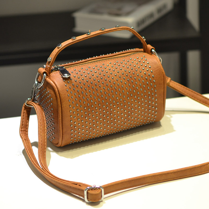 Fashion Bag Leather Barrel Shaped Crossbody Bags Women Messenger 2017 Brand Designer Rivets Handbags For Woman Bolsos A0322 In From
