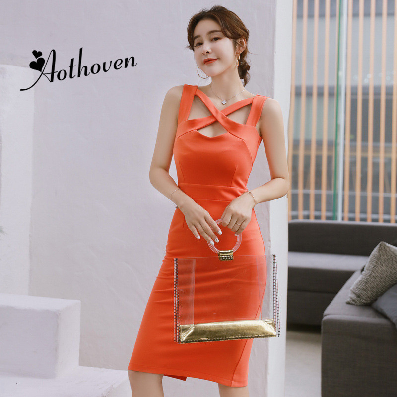 Summer Vintage Hollow Out Pencil Dresses Orange Sleeveless Criss-Cross Collar Dress Women Sexy Party Ladies Beach Dress Vestidos