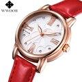 Mulheres de luxo Da Marca Relógios de Couro Vermelho Genuíno Ouro Rosa Diamante Senhoras Casuais Relógio De Quartzo Mulheres Se Vestem Assistir Relógio Montre Femme
