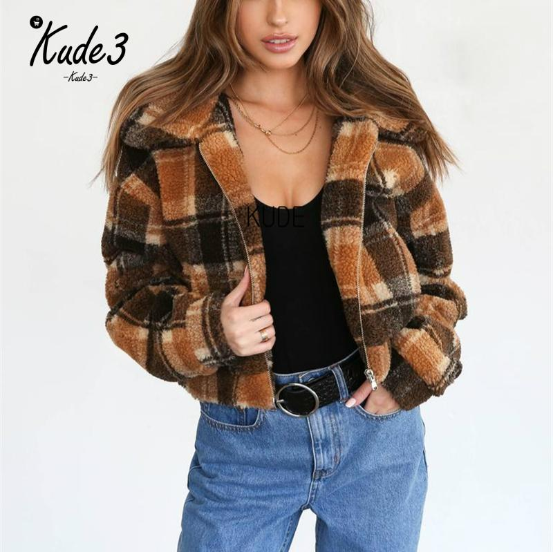 KUDE Autumn Winter   Jacket   2019 Women Outwear Coat Female Faux Lambswool Big Size Women Loose Lapel   Basic     Jackets   Streetwear 7479
