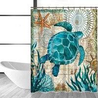 Самонаведения Ocean животных черепахи КИТ простой Стиль шаблон душ Шторы полиэстер Водонепроницаемый роса сопротивление Для ванной Шторы