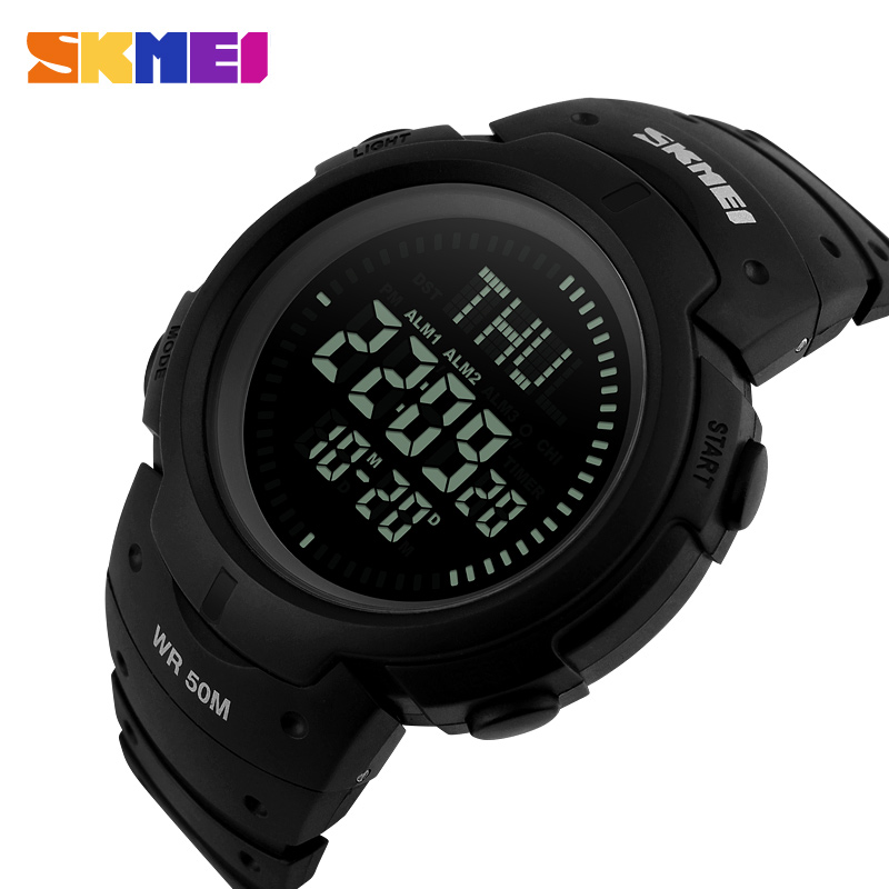 <font><b>SKMEI</b></font> <font><b>1231</b></font> Men LED Digital Watches Multifunction Electronic Compass Outdoor Sport Clock Water Shock Resist Males Wristwatches image