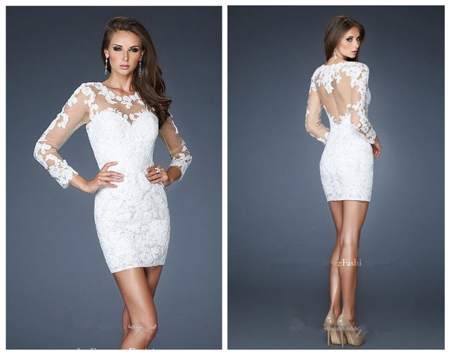Aliexpress buy sexy white lace cocktail party dresses mini