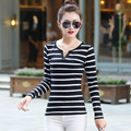 New autumn XL V cotton  collar black and white striped long sleeved T-shirt shirt female haihun tide