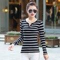 New outono XL algodão gola V preto e branco listrado T-shirt de manga comprida camisa haihun feminino maré