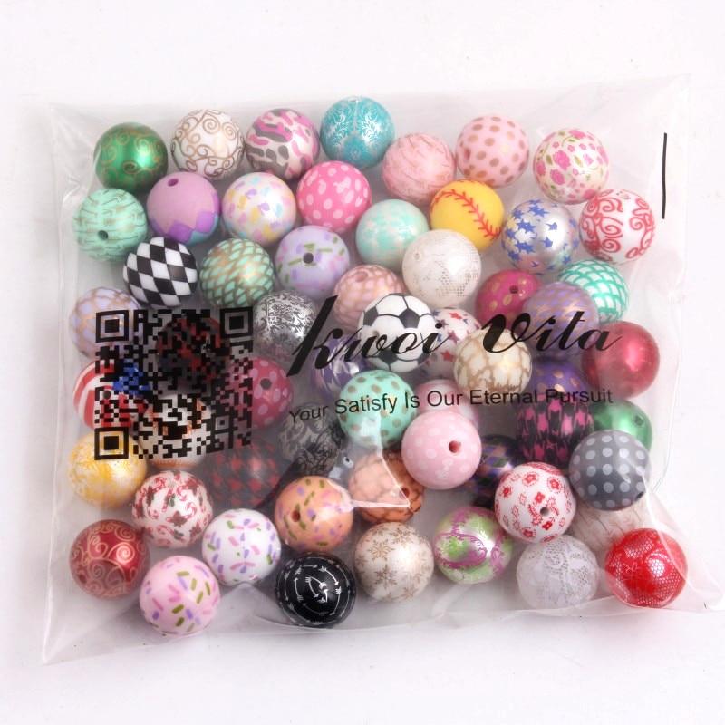 Kwoi Vita Wholesale 20mm 100pcs Random Mixed Chunky Acrylic Print Beads Beads For Kid's Fashion Jewelry Necklace!