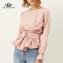 Bella Philosophy  2017 women spring summer O neck belted lace up pink satin long sleeve shirt blouse