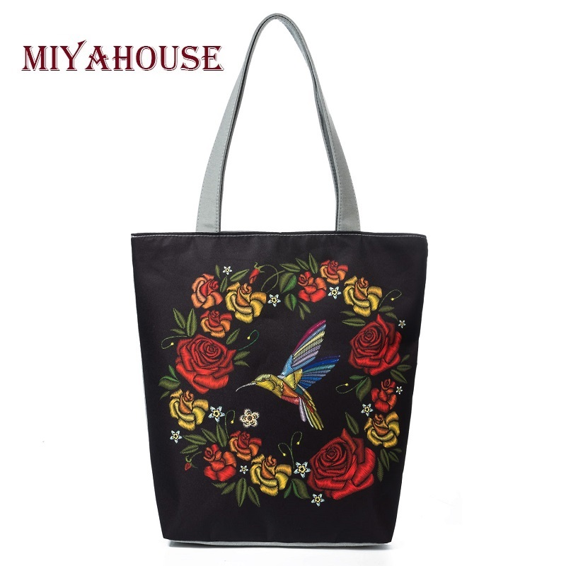 купить Miyahouse Lmitation Embroidery Casual Tote Handbag Women Bird And Floral Printed Shoulder Bag Female Summer Lady Beach Bag недорого