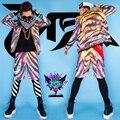 2016 moda design masculino cantor DJ cantor tigre jaqueta roupa roupas roupas de palco desgaste