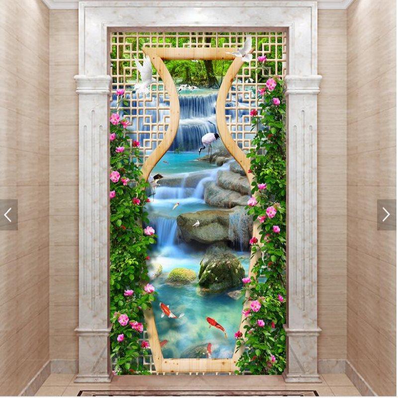 Papier peint mural moderne personnalisé rêve fleur vigne grue cascade salon allée 3D fond d'entrée papier peint