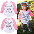 2016 Fashion Toddler Kids letters printting T-Shirt Baby Girls Tees Long Sleeve T-shirt  Tops Clothes Size 1-6T