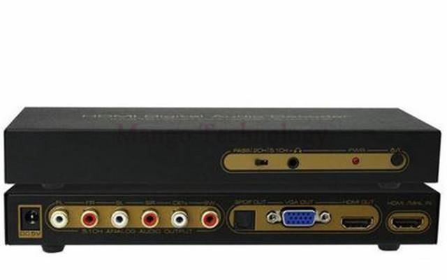 Top quality hdmi decodificador de áudio digital hdmi para hdmi + vga + spdif + 5.1ch + para hp conversor up para 1080 p