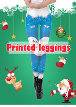2018 Christmas Deer Heart 3D Printed Slim Fitness Leggings