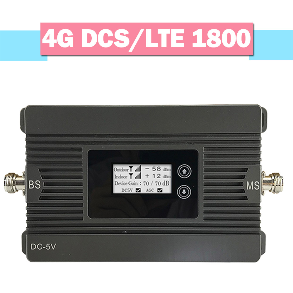 New Walokcon LCD Display Repeater 4G LTE DCS 1800 Mobile Phone Signal Amplifier 80dB Gain 4G Signal Booster GSM 1800 MHz Band 1