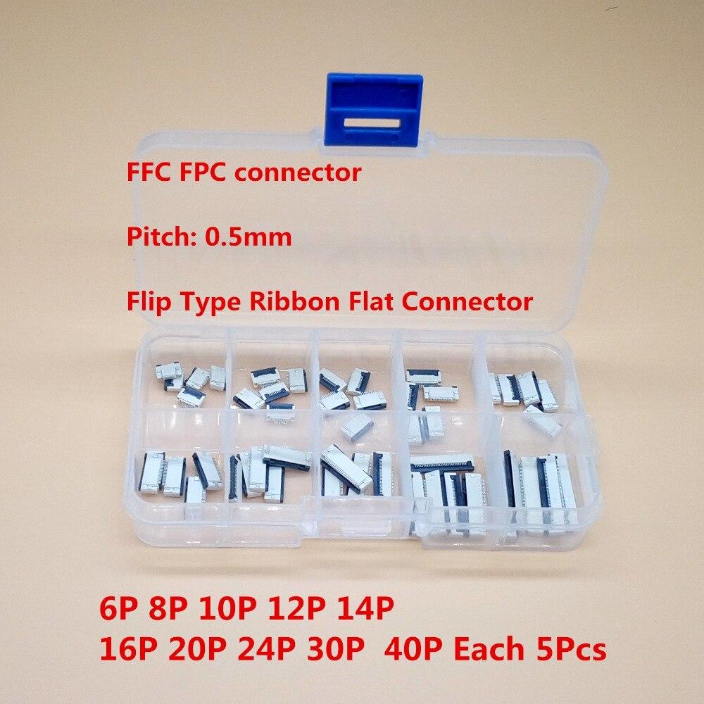 50 pcs Garra Inferior Tipo de Contato 0.5mm Filp Baixo FFC FPC Conector 6/8/10/12/14/16/20/24/30/40 Pin