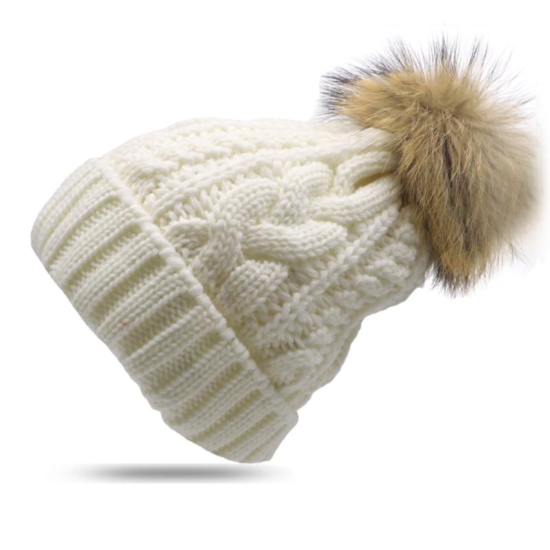 1 Stücke Warme Winter Hut Für Frauen Häkeln Gestrickte Skullies Beanie Bommel Ball Beiläufige Kappen Mützen Für Mädchen Weibliche Dicke Kappe Gorros