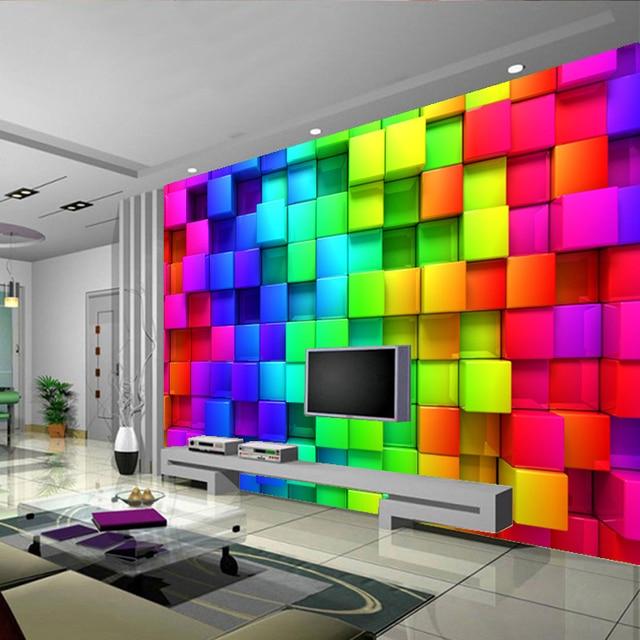 Modern Custom 3D Wallpaper Colorful Blocks Photo Wallpaper