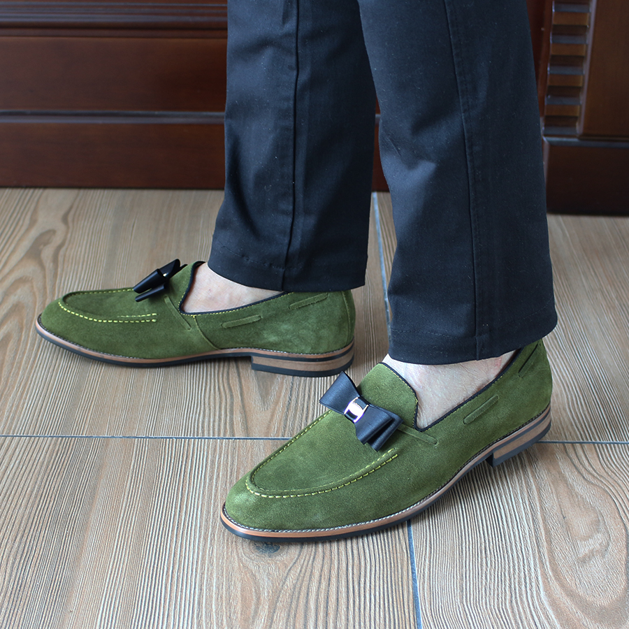 2017 Smart Genuine Leather Mens Casual Green Loafers Slip On Cow Suede Leather Man Formal Wedding Party Dress Shoes Flats D966-3 top brand high quality genuine leather casual men shoes cow suede comfortable loafers soft breathable shoes men flats warm