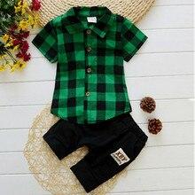 EafreloyBaby boy clothes  Brand summer kids clothes sets shirt+pants suit clothing set Plaid Clothes newborn Gentleman suits p44