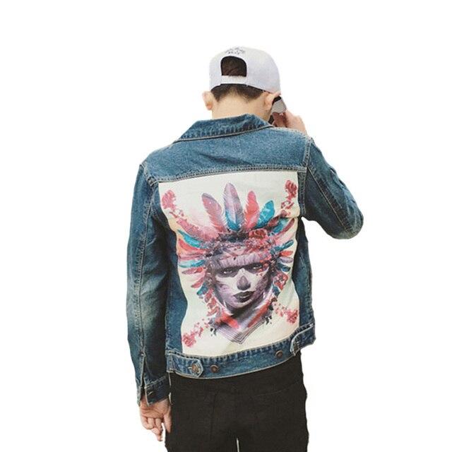 Harajuku ropa de los hombres Graffiti parche de tela denim Chaquetas hombre  cráneo patrón de dibujos 773acb55ec2