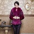 2016 Autumn Winter Women's Genuine Natural Rabbit Fur Coats with Raccoon Fur Collar Adjustable Belt Female Outerwear Coats 0022