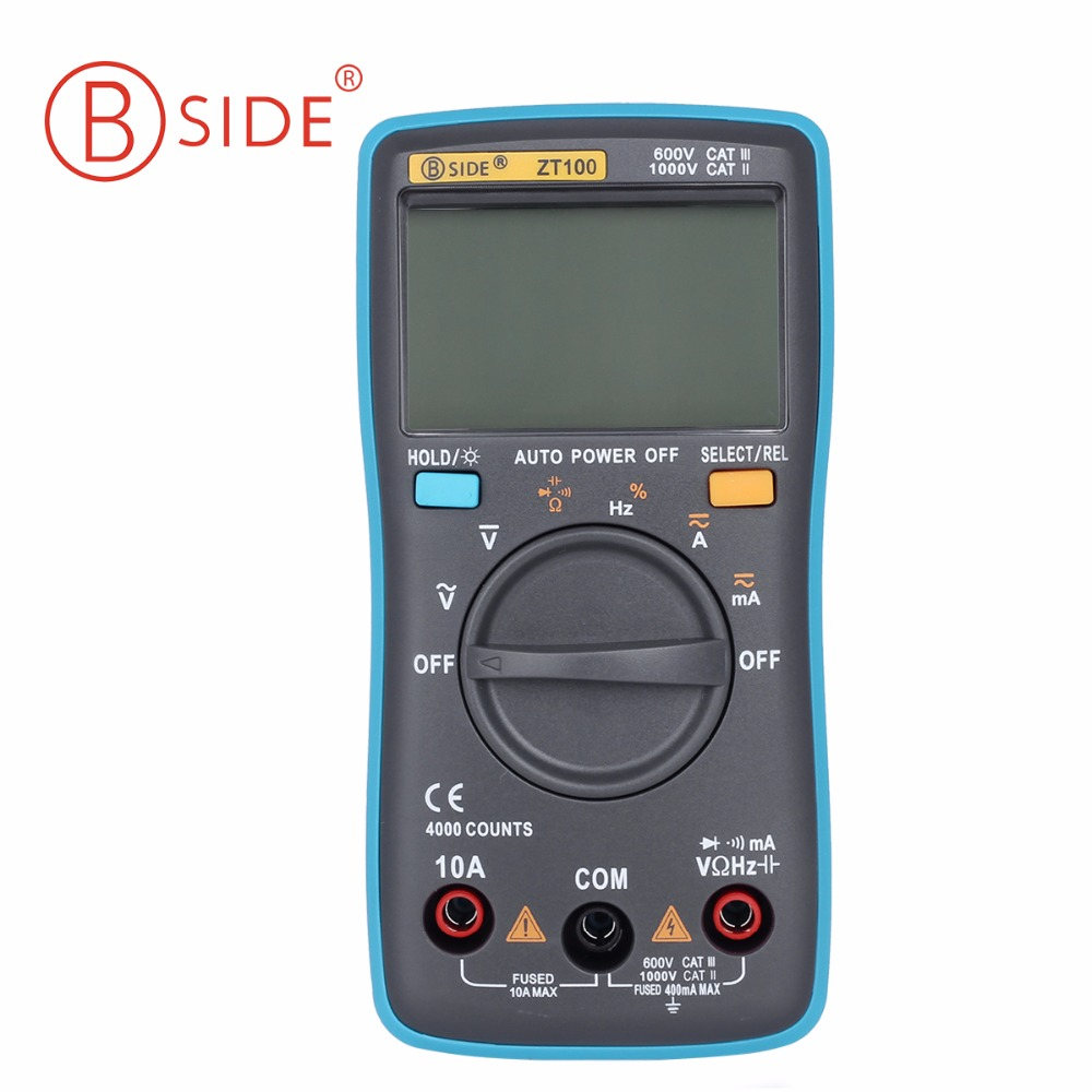 BSIDE ZT100 Digital Multimeter 4000 counts Back light AC/DC Voltage Ammeter Voltmeter Ohm tester Frequency Diode meter DMM bside adm04 lcd digital multimeter mini pocket 2000 counts dmm dc ac voltage current meter diode tester auto ranging multimetro
