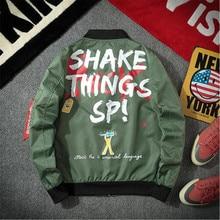 Print Zip Jacket Men Trend Baseball Coat Korean version of the Bomber Jacket Streetwear Hip Hop Outerwear Windbreaker 2019 New недорого
