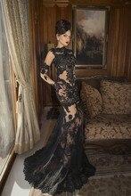 Black Lace Evening Gown Elegant Long Sleeve Dresses Appliques Wedding Party Abendkleider Sexy Women Dress vestidos 2015 женское платье grace karin 50 vestidos 6093 cl6093 sexy party dresses women 2015