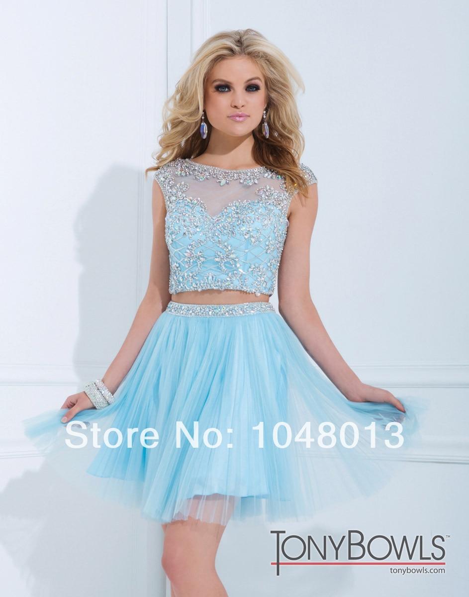 2014 Louisvuigon A LIne Blue Pink Two Piece Dress Cap Sleeve Crystal ...